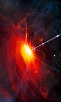 The accretion disk and jet of a supermassive black hole.
