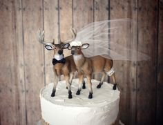 Ivory bride-deer wedding cake topper-bride and groom-buck and doe-rustic wedding-deer hunter-hunting groom-fall wedding-deer lover on Etsy, $48.00