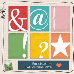 Free Punctuation Journal Cards for Project Life from dear brighton