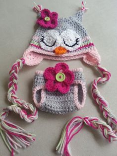 Sleepy Owl Crochet Hat and Diaper Cover Set by Knotjuststring