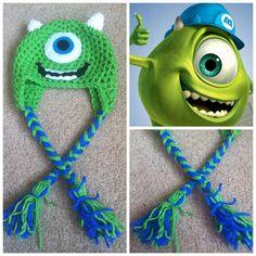 Crochet Monsters Inc Mike Wazowski Earflap Beanie Hat - Etsy $15.00