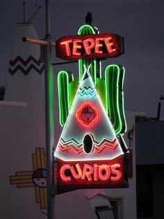 20 Route 66 Tee Pee Curios Neon Sign Tucumcari New Mexico