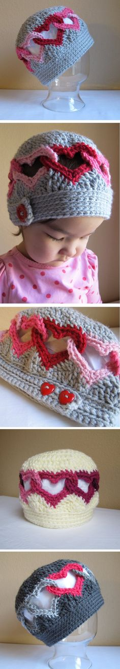 Cut out hearts hat. I think this is adorable.