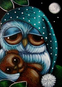 Sleepy owl with teddy bear