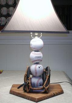 Baseball Themed Nursery Decor: Table Lamp Made From A Glove and Baseballs