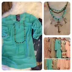 Studded sheer tops in florals and bright colors! Perfect for spring. The Rollin' J Boutique