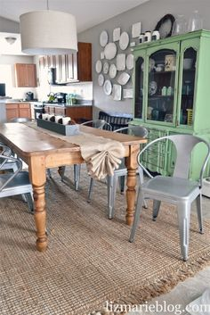 DIY No Sew Burlap Table Runner, wall of plates, green hutch Dining Rooms, Modern Chairs, China Cabinets, Burlap Tables Runners, Kitchens Tables, Wood Tables, Burlap Table Runners, Dining Table'S, Buffets Tables