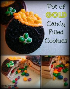 Mighty Delighty: Pot of Gold Candy Filled Cookies {{St Patrick's Day}}