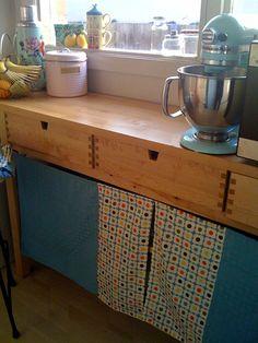 "ikea norden buffet/sideboard w/fabric curtain ""doors"""