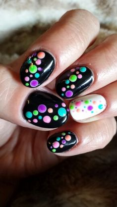 Black with neon polka dots accent white nail #gelish mani