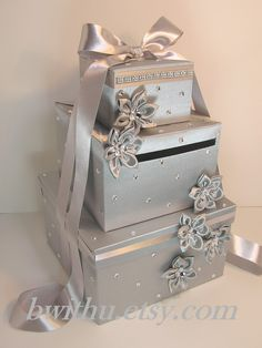 Unique Wedding Gift Card Box Ideas : Silver Wedding Card Box Gift Card Box Money Box Holder--Customize in ...