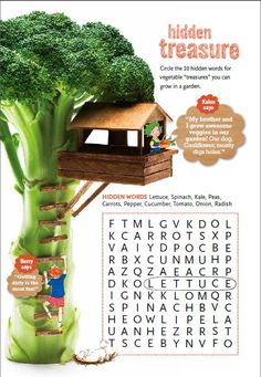 Hidden treasure crossword puzzle encourages your children to find the names of vegetables that they can grow in the garden! #puzzle #kids #games