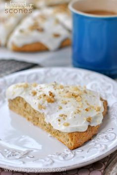 Cream Cheese Frosted Banana Nut Scones - Shugary Sweets