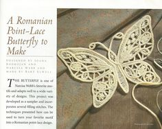 Romanian Point Lace Crochet sampler butterfly in the January/February 2001 issue of PieceWork magazine.