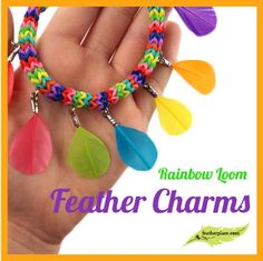 Up your Rainbow Loom game with today's totally trendy DIY project, Rainbow Loom Feather Charms! - The Feather Girl #feathers #Rainbowloom #charms
