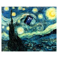Doctor Who Van Gogh Starry Night TARDIS art print. This could be a fun adult or teen library program for Dr. Who fans. Set it up Cofee and Canvas style with an instructor. Enjoy!