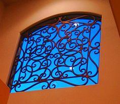 Faux wrought iron window insert