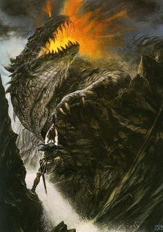 Fat black dragon John Howe