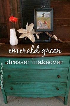 """A dark walnut stain sits atop the """"color of the year"""" Emerald stained dresser drawers. The color combo is a """"gem!""""   Emerald is my FAVORITE color!"""