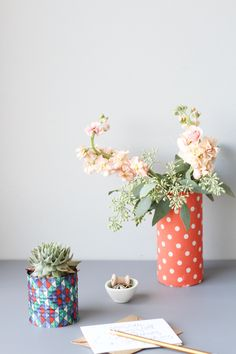 DIY Fabric Wrapped Vases