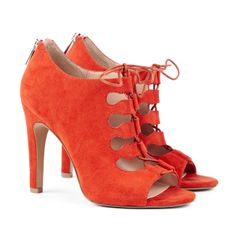 Orange Lace-up Heels