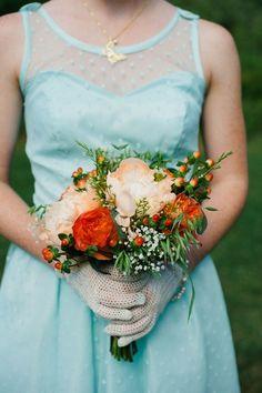 Aqua  & Orange Modern Vintage Wedding  - Bridal Musings Wedding Blog