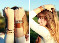 Make a chic DIY bracelet by crafting this Southwestern DIY Leather Cuff. This pretty homemade bracelet combines leather and a piece of fabric of your choice into a stylish fashion statement.
