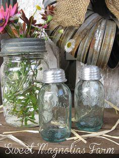 Canning Mason Jar Salt and Pepper Set  by SweetMagnoliasFarm