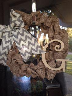 burlap wreaths, chevron bow, stuff, project idea, hous idea, craft idea, bows, diy project, thing