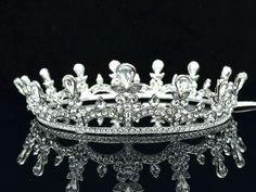 Round Clear Swarovski Crystal Drop Bridesmaid Bride Bridal Tiara Crown SH8850A | eBay