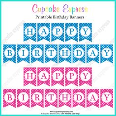 FREE Printable Happy birthday banners pink blue