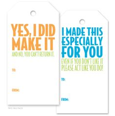 Tags - for you to use when giving your special DIYs