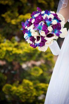 Blue orchid, calla lily bouquet