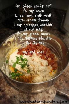 Bacon Crab Dip. Bake at 300 for 15 minutes. use franks red hot sauce 15 minut, hot bacon crab dip, crab dip hot, frank red, food, recip, crab dips, dips with bacon, hot sauces