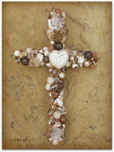 beaded wire wall cross