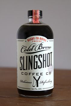 from dapper paper for slingshot coffee co. bottled coffee #packaging #label. fine use of #typography