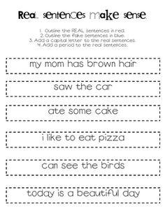 Real Sentences Make Sense (review rules of sentences)
