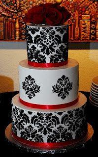 Black and White Damask design cake