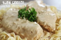Slow  Cooker Chicken Stroganoff!  Super easy and a meal the whole family will love!