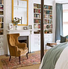 chair, guest bedrooms, built in bookshelf fireplace, bedroom colors, builtin bookcas, master bedrooms, hous, dream bedrooms, traditional homes
