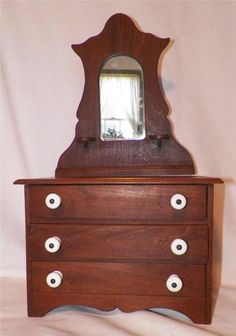 Antique children 39 s chests and dressers on pinterest for Wooden bureau knobs