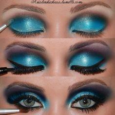 drag queens, eyeshadow tutorials, color combos, makeup collection, color blue, blue eye makeup, bright eyes, blues, black