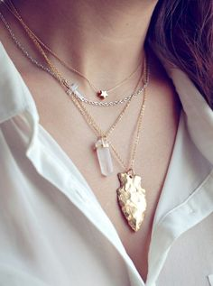 Arrowhead necklace, Quartz Crystal necklace