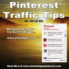 Pinterest Traffic Tip: Pinwidget for Wordpress Bloggers