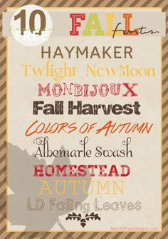 these are the best Fall & Autumn Fonts..use these on your fall party invites! |  Free Font Friday | www.MoritzFineBlogDesigns.com
