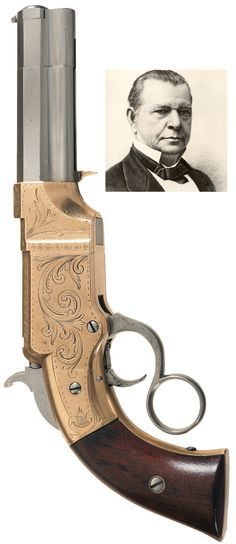 Rare Factory Engraved Volcanic Lever Action No.1 Pocket Pistol.  Lever action Navy pistols with an eight inch barrel manufactured by the Volcanic Repeating Arms Co., circa 1856. This pistol was manufactured before Oliver Winchester acquired the majority of the Volcanic Repeating Arms Co. stock and reorganized it as the New Haven Arms Co., in 1857.
