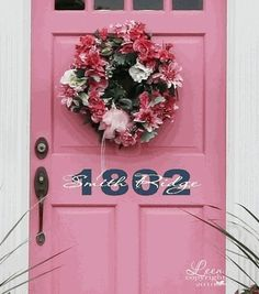 Custom Front Door Vinyl Lettering with House Number Wall Decal