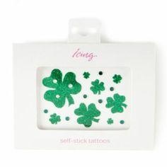St. Patrick's Day Glitter Shamrock and Crystals Self-Stick Tattoos