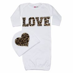 Little Girls Boutique Clothes,Newborn Baby Clothes,Baby Girl Newborn Take Home Outfit - Bundle of Love Cheetah LOVE Set -White on Etsy, $48.00