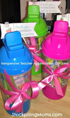 Inexpensive Teacher Appreciation Gift Idea  http://www.stockpilingmoms.com/2012/05/inexpensive-teacher-appreciation-gift-idea/
